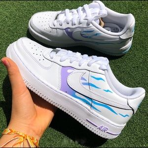 ⚡️Custom Nike Air Force 1 Shoes (Flame)⚡️